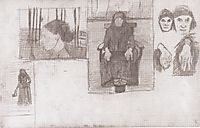 Composition sketch for Seated Old, 1898, modersohnbecker