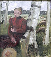 Girls at the birch tree and flock of sheep in the background, 1903, modersohnbecker