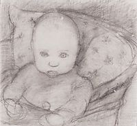 Infant in seat, 1902, modersohnbecker