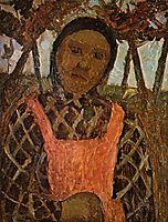 Peasant child with pink apron, c.1904, modersohnbecker