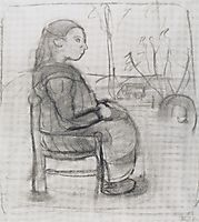 Seated girl in a landscape, to the right, 1902, modersohnbecker