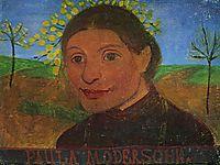 Self portrait in front of flowering trees, c.1902, modersohnbecker