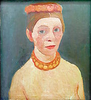 Self portrait with red flower wreath and chain, 1907, modersohnbecker