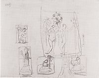 Sketch with six figure compositions, modersohnbecker