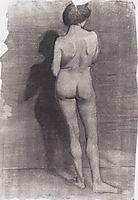 Standing female nude, against a dark wall, 1900, modersohnbecker