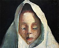 Still life, child-s head with a white cloth, 1908, modersohnbecker
