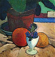 Still life with plant, lemon and orange, c.1906, modersohnbecker