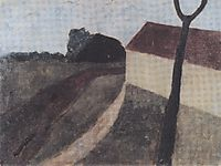 Twilight landscape with house and fork, c.1900, modersohnbecker