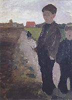Two boys on Moorkanal, c.1900, modersohnbecker