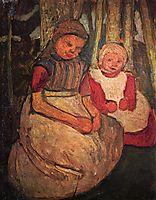 Two girls seated in the birch forest, c.1905, modersohnbecker