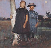 Two girls standing on the birch trunk, c.1902, modersohnbecker