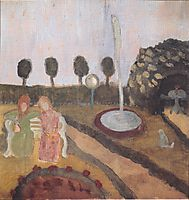 Two women in the garden with fountain, c.1905, modersohnbecker