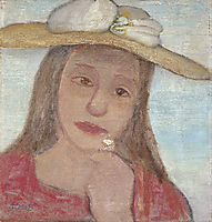 Young Girl With Straw Hat And A Flower In Her Hand, 1902, modersohnbecker