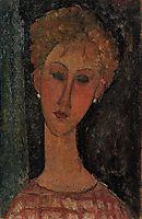 A Blond Wearing Earrings, c.1916, modigliani