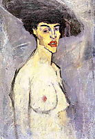 Nude with Hat, c.1907, modigliani