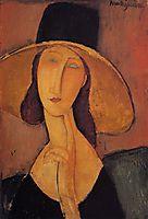 Portrait of Jeanne Hebuterne in a large hat, c.1918, modigliani