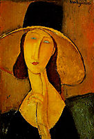 Portrait of Jeanne Hebuterne with big hat, 1917, modigliani