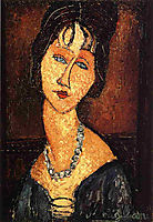 Portrait of Jeanne Hebuterne with a necklace, 1916-1917, modigliani