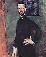 Portrait of Paul Alexandre Against a Green Background, 1909, modigliani