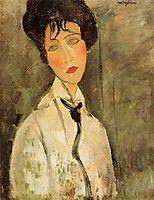 Portrait of a Woman in a Black Tie, 1917, modigliani