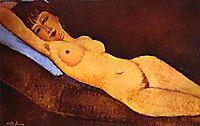 Reclining nude with Blue Cushion, 1917, modigliani