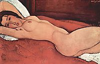 Reclining nude with folded arms behind the head, modigliani
