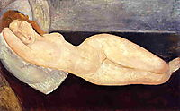 Reclining nude with head resting on right arm, modigliani