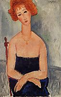 Redheaded woman wearing a pendant, modigliani