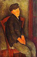 Seated Boy with Cap, 1918, modigliani