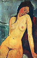 Seated female nude, 1916, modigliani