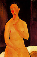 Seated nude with Necklace, 1917, modigliani