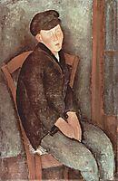 Sitting boy with hat, 1918, modigliani