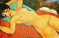Sleeping Nude with Arms Open (Red Nude), 1917, modigliani