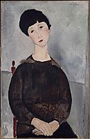 Young brunette girl sitting, 1918, modigliani