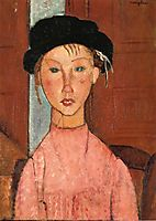 Young Girl in Beret, 1918, modigliani