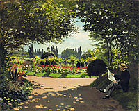 Adolphe Monet Reading in the Garden, 1866, monet