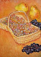 Basket of Graphes, Quinces and Pears, 1885, monet