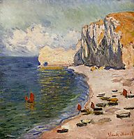 The Beach and the Falaise d-Amont, 1885, monet