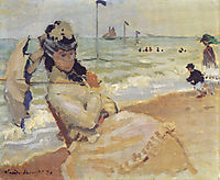 Camille on the Beach at Trouville, 1870, monet