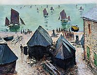 The Departure of the Boats, Etretat, 1885, monet