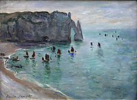 Etretat the Aval Door Fishing Boats Leaving the Harbour, 1885, monet