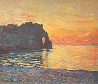 Etretat, Cliff of d`Aval, Sunset, 1885, monet