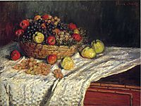 Fruit Basket with Apples and Grapes, 1879, monet