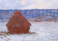Grainstack in Overcast Weather, Snow Effect, 1891, monet