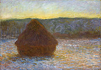 Grainstack, Thaw, Sunset, 1891, monet