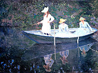 In the Norvegienne Boat at Giverny, 1887, monet