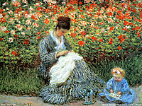 Camille Monet and a Child in the Artist's Garden in Argenteuil, 1875, monet
