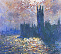 Parliament, Reflections on the Thames, 1905, monet