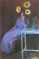 Portrait of Suzanne Hoschede with Sunflowers, 1890, monet