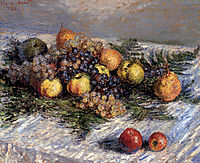 Still Life with Pears and Grapes, 1880, monet